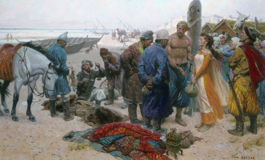 A painting shows a Viking selling a slave girl to a Persian merchant.